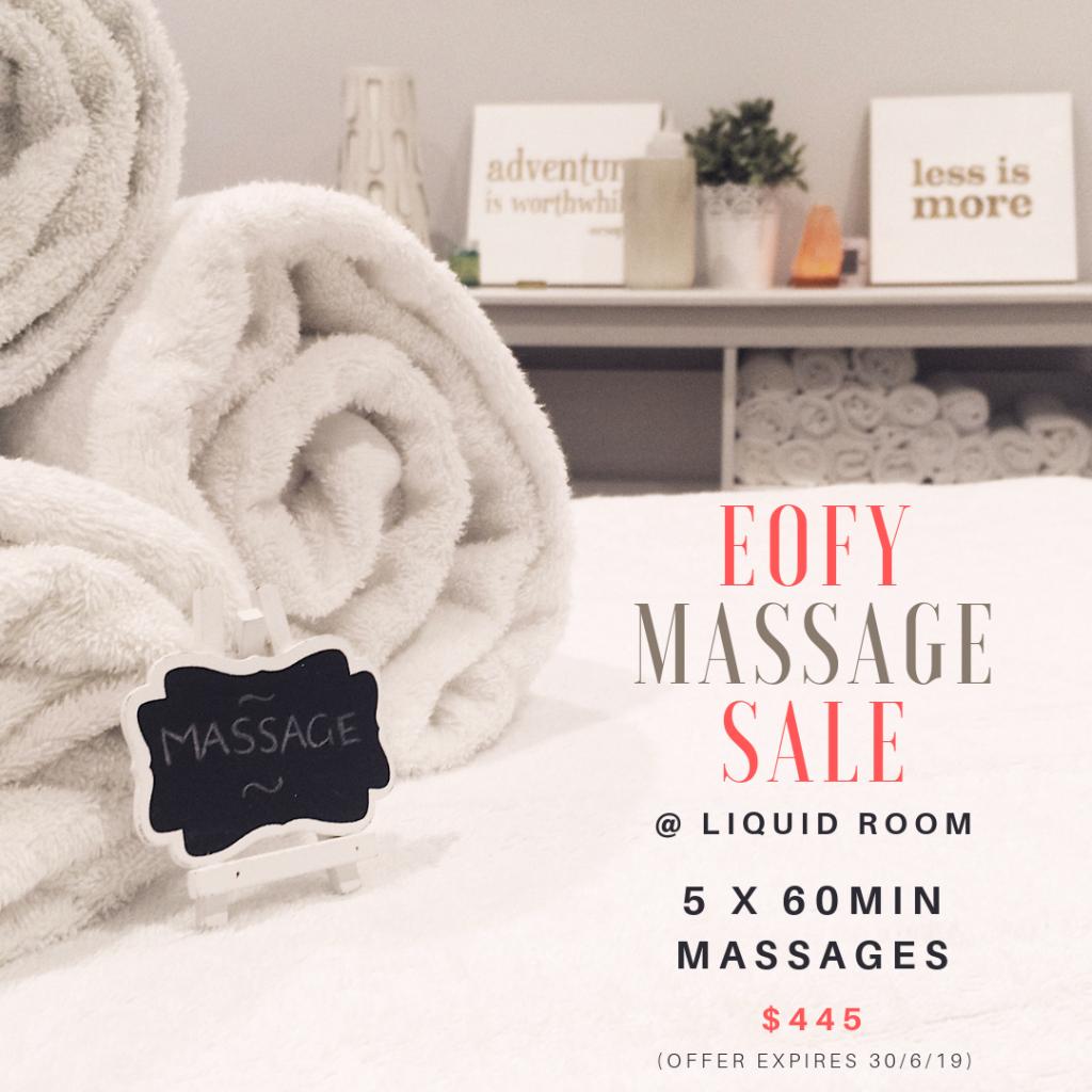 2019 EOF Massage SALE! 5 x 1 Hr Massage $445